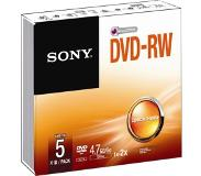 Sony 1x5 Sony DVD-RW 4,7GB 1-2x Speed, Jewel Case