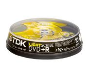 TDK Pack 10 DVD+R 4.7 GB 16x LightScribe
