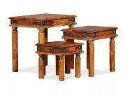VidaXL Table gigogne 3 pcs Bois massif de Sesham Marron