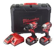 Milwaukee M18 CBLPP2A-402C - Set perceuse à percussion (M18 CBLPD-0) & visseuse à choc (M18 CBLID-0) (2x batterie 4,0Ah) dans HD box