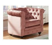 Vente-unique.be Fauteuil CHESTERFIELD - Velours rose pastel
