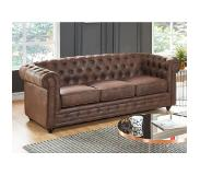 Vente-unique.be Canapé 3 places CHESTERFIELD en microfibre aspect cuir vieilli
