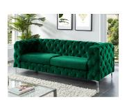 Vente-unique.be Canapé chesterfield 3 places FARINO en velours - Vert sapin