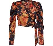 Missguided Chemisier 'PUFF SLEEVE WRAP CROP TOP PRINTED'