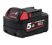 Milwaukee m18b5 5.0 Ah M18 Rouge Batterie Lithium-ION, Multicolore