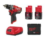 Milwaukee - Perceuse à percussion M12 FUEL 12 V Li-Ion 2.0 Ah 37 Nm 2 vitesses avec coffret - M12 FPD-202X
