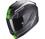 Scorpion Casque moto EXO-1400 AIR CARBON BEAUX Matt White-Green, Noir/Vert, L