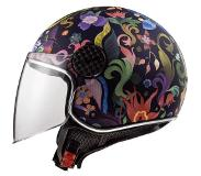 LS2 Casque moto OF558 SPHERE LUX BLOOM Bleu Rose, Noir/Bleu/Rose, XL
