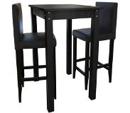 VidaXL Set de 1 table de bar et 2 tabourets noir