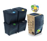 Prosperplast Ensemble de 4 Cubes 100 L Sortibox en Couleur Recyclage Plastique Anthracite Multicolore One Size