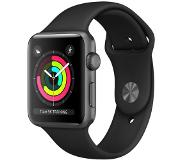Apple Series 3 - Boîtier aluminium 38mm Space Gray - Bracelet sport Noir.