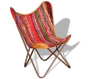 VidaXL Chaise papillon Multicolore Tissu chindi